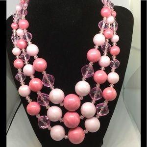 Jewelry - VINTAGE NECKLACE 3 strands PINK Germany